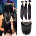 Ear To Ear Lace Frontal Closure With Bundles Malaysian Virgin Hair Straight With Closure Cheap Malaysian Human Hair Weave Bundle