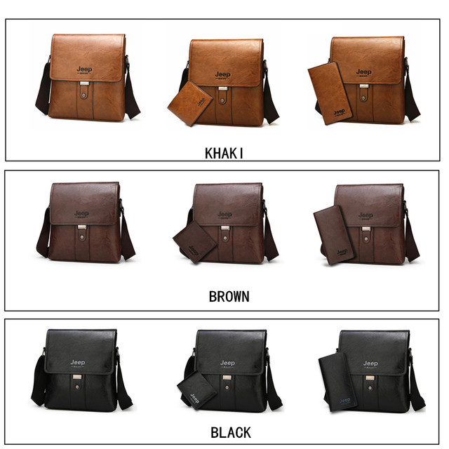 JEEP BULUO Men Shoulder Bag Set Big Brand Crossbody Business Messenger Bags For Man Fashion Casual pu Leather New Hot Salling 4