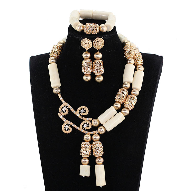 цена на Superior Quality White Coral Bead Statement Necklace Set Dubai Gold Real Coral African Jewelry Sets Birthday Party Gift CNR137