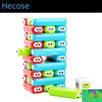 30 Blocks 1 Dices Cute Rubber Jenga Stacking Party Family Board Game Children Educational Toy Game