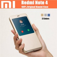 Original Redmi Note 4 Case 5 5 inch Smartwake Flip Leather Window Phone Protective Shell For