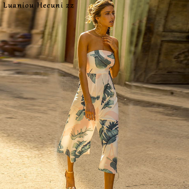 9262c03b8e7 Chu Ni Sexy Off Shoulder Wide Leg Pants Jumpsuit Women Rompers Leaf Print  Loose Fashion Casual Overalls female Jumpsuits LX29-in Jumpsuits from  Women s ...