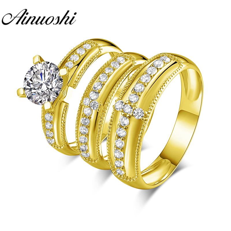 AINUOSHI Real Gold TRIO Rings 14K Yellow Gold Couple Wedding Ring Set Cross Pave Set Band Lover Engagement Wedding Rings JewelryAINUOSHI Real Gold TRIO Rings 14K Yellow Gold Couple Wedding Ring Set Cross Pave Set Band Lover Engagement Wedding Rings Jewelry