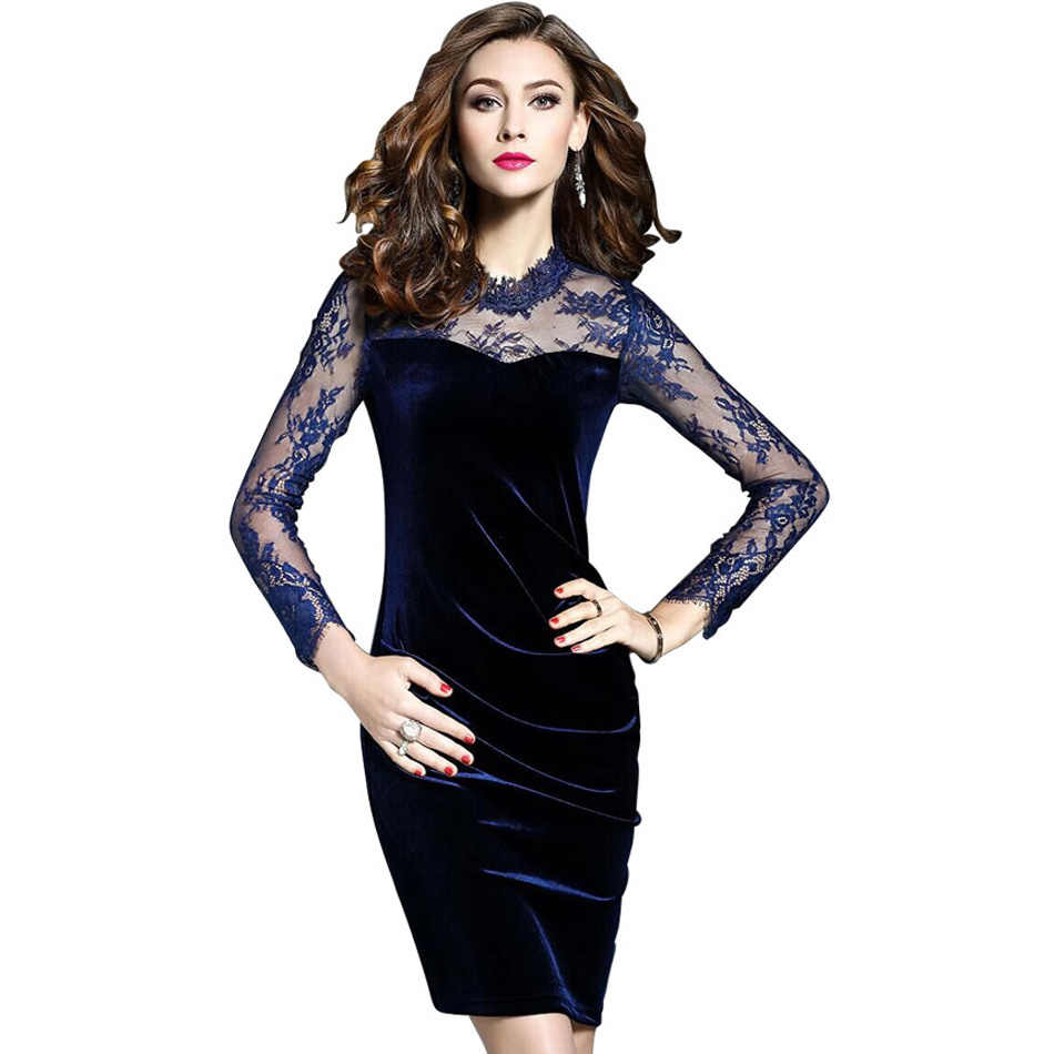 4cab84f9d0 Velvet Dresses for Women Plus Size 2XL 3XL New 2019 Spring Fashion Long  Sleeve Patchwork Floral Mesh Dress Bodycon Mini Femme