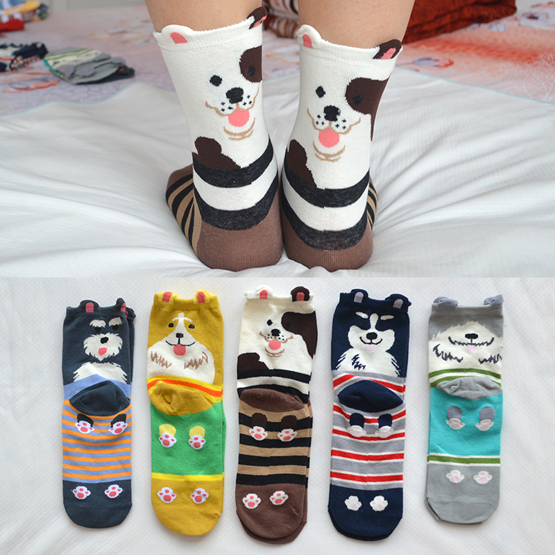 5 Pair/set Cute Cartoon Dog Women   Socks   Cotton Kawaii Striped Dog Novelty Funny Girls Casual Crew   Socks   with Gift Bag
