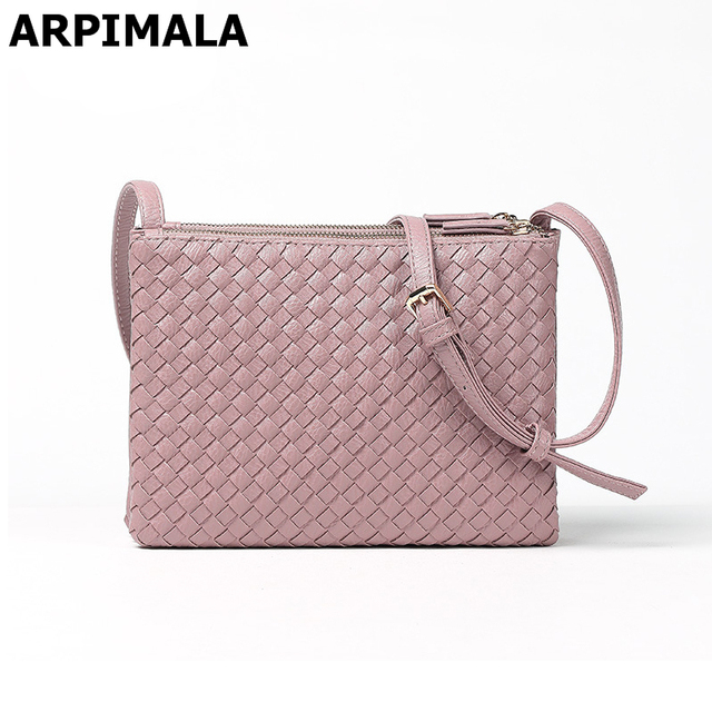 309df2b037d2 ARPIMALA 2017 Women Leather Handbags Casual Crossbody Bags for Women  Designer Knit Messenger Bags High Quality