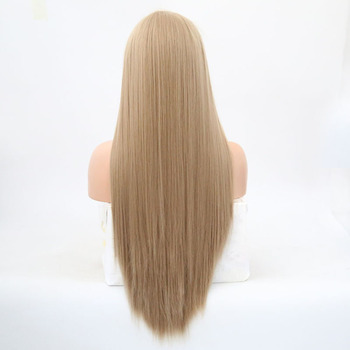 Rongduoyi Long Silky Straight Hair Synthetic Lace Front Wig Ash Blonde Side Part Cosplay Wig Glueless Front Lace Wigs for Women 2