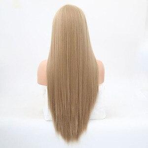 Image 3 - Rongduoyi ארוך משיי ישר שיער אפר בלונד צד חלק פאת קוספליי Glueless חזית תחרת פאות עבור נשים