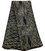 The New Listing Popular Pattern Gold Thread Embroidered Net Lace Fabric For Evening Dress High Quality