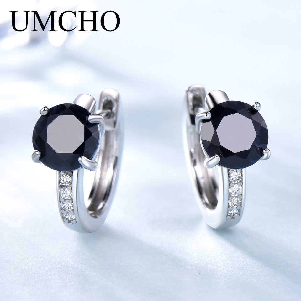 UMCHO Natural Sapphire Earrings For Women 100% Real 925 Sterling Silver Female Engagement Fine Jewelry