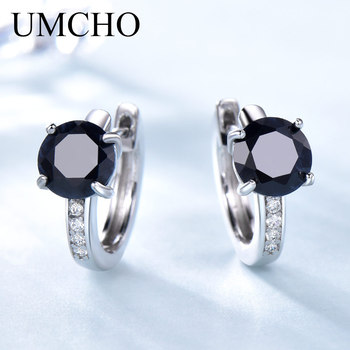 2018 new fashion sapphire earrings 100% natural dark blue stud earring for woman 925 solid sterling silver jewelry gift for girl UMCHO Natural Sapphire Earrings For Women 100% Real 925 Sterling Silver Earrings Female Engagement Fine Jewelry