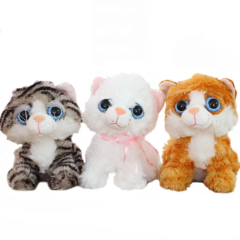 1pc 18cm Cute Big Eyes Cat Plush Toy Staffed Soft Plush Animal Dolls Kids Doll Children's Day Gift