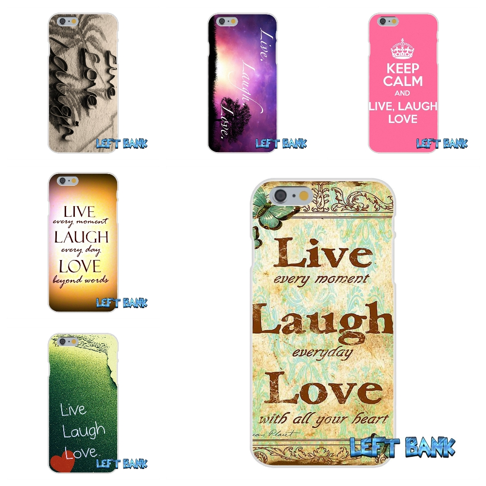 Love. Laugh. Live Quotes Soft Silicone TPU Transparent Cover Case For iPhone 4 4S 5 5S 5C SE 6 6S 7 Plus