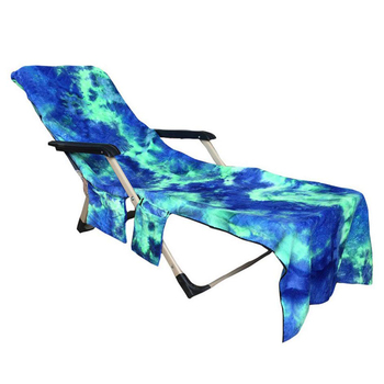Lounge Chair Beach Towel Beach Chair Cover Microfiber Lounge Chair Cover with Side Storage Pockets for Pool,Sun Lounger Vacation 2