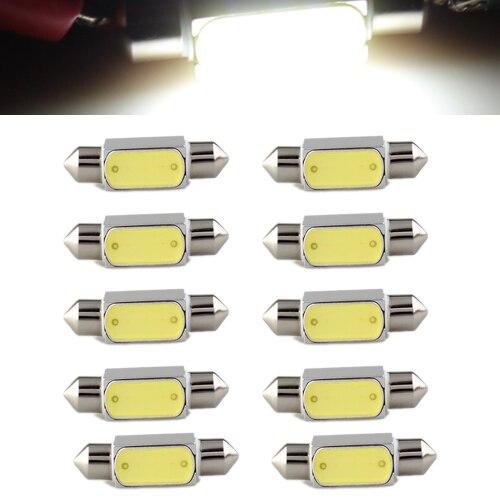 10x) 10 pièces 36mm 3 W COB LED Ampoule Feston Dôme 6000 K DC12V Voiture blanche