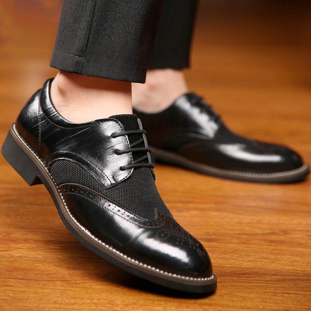 Mens Elegante Homens Ponto Qualidade Sapatos marrom 44 Dos 46 azul Pé Microfibra Grande 45 Do Alta Preto De Casamento Dedo Buvazik 2018 New Brogue Tamanho FnqxnfpE