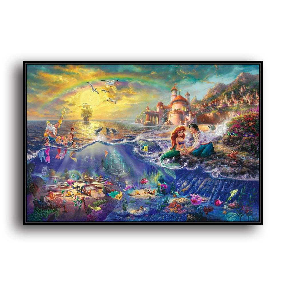 The Little Canvas: H1216 Thomas Kinkade The Little Mermaid, HD Canvas Print