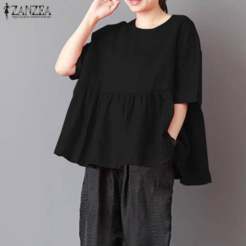 e141563044f 2018 ZANZEA Summer Blouse Vintage Women Tops Blusas Pleated Short Sleeve  Loose Baggy Cotton Linen Shirt Plus Size Blusa Feminina