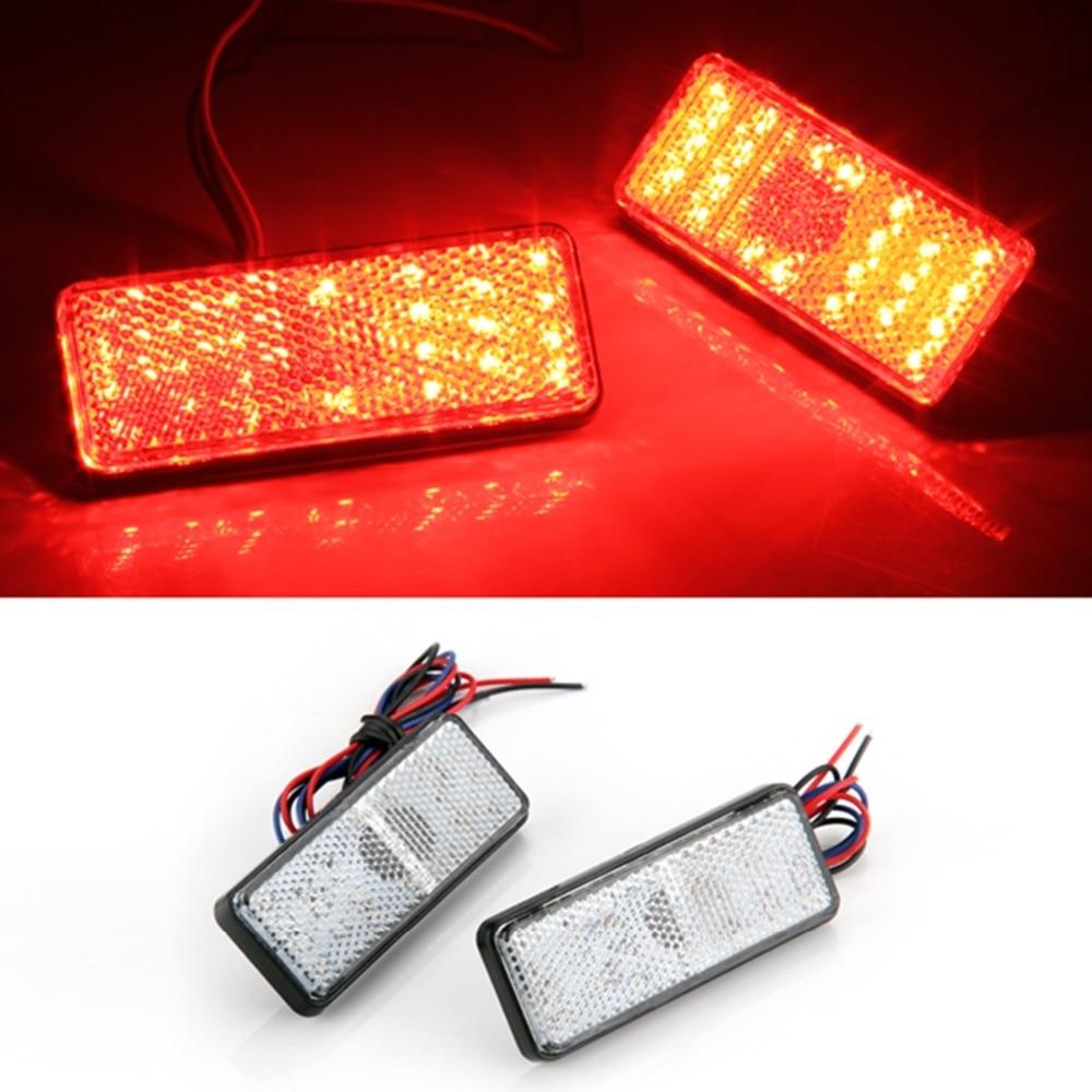 2pcs Car Auto Vehicle Red Square Brake Stop Tail Rear Light Lamp Bulb High Power Backup light Turn light