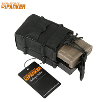 Spanker Outdoor Tactical Hunting Double Pistol Magazine Pouch Hunting Top Ammo Molle Pouch Cartridge Clip Bags