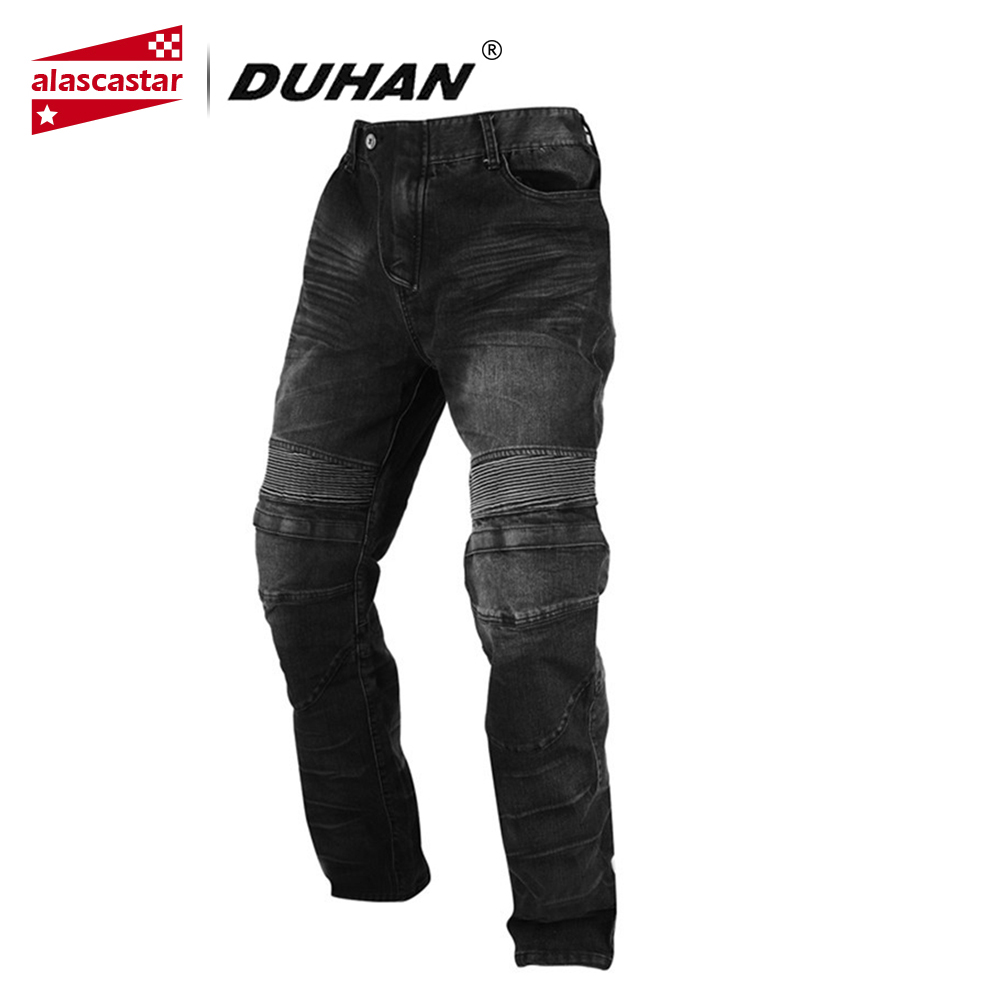 DUHAN Motorcycle Pants Windproof Men's Racing Jeans Riding Trousers Automobile Race Pants with Knee Protector Guards DK-018 tkosm motorcycle pants riding road motor windproof pants jeans men trousers racing windproof motorbike pants with knee pads