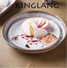 Japanese style handmade cat series ceramic  soup noodle bowl fish dish family dinner plate set tableware set