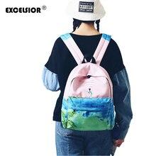 Excelsior Мода 2017 г. качества женская сумка вышитые холщовый мешок Для женщин сумка Рюкзаки милые Животные Дельфин школы, детские рюкзак