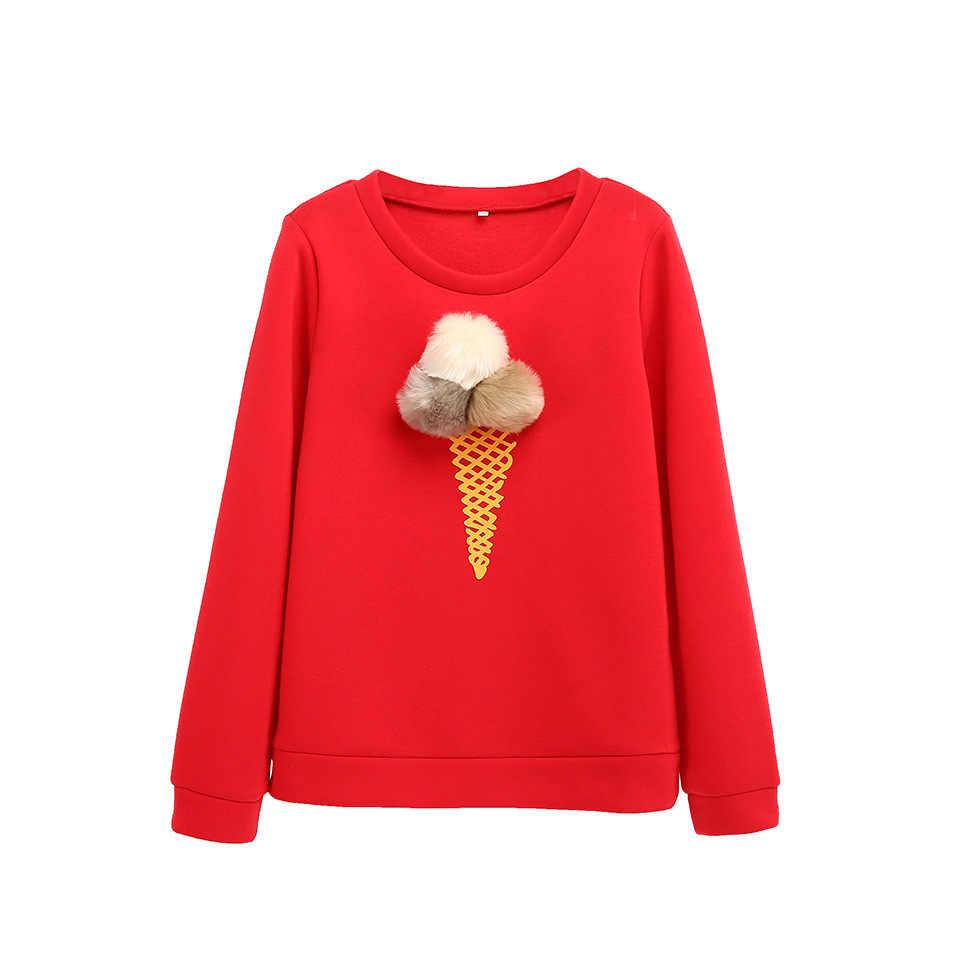 Lã Bola Cone do Creme de Gelo Impressa Em Torno Do Pescoço de Manga Comprida Camisola Das Mulheres de Inverno Casaco Grosso de Poliéster Vermelho roupas streetwear