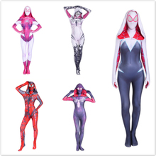Women Girls Venom Spider Gwen Stacy Cosplay Costume Spiderman Zentai Superhero Bodysuit Suit Jumpsuits costume
