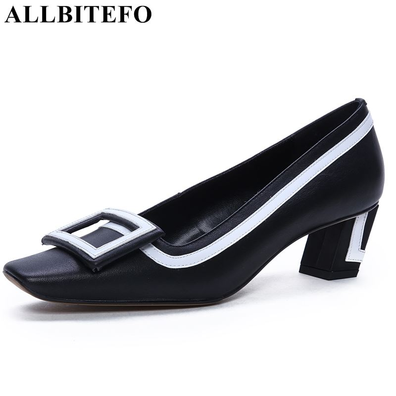 ALLBITEFO genuine leather women heel high heel shoes pointed toe fashion girls ladies early spring comfortable