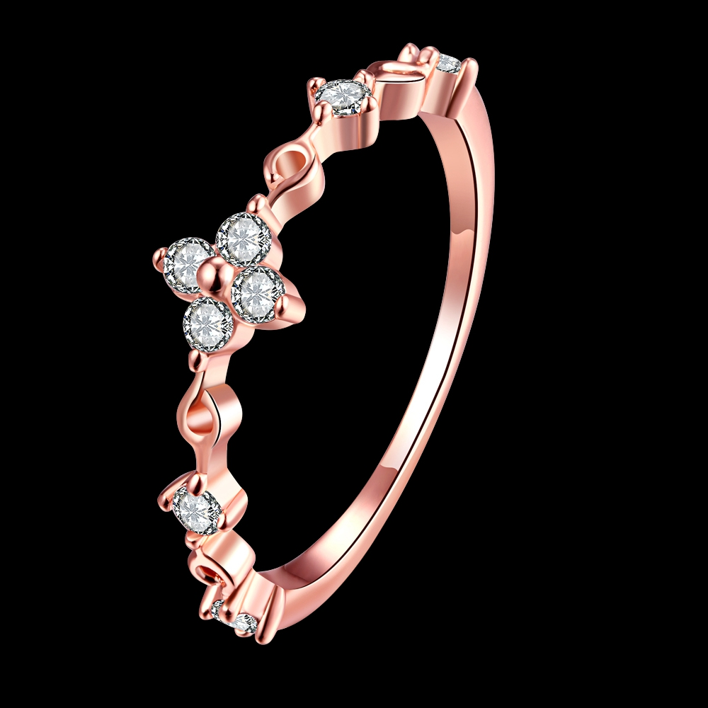 GNIMEGIL Brand Jewelry Cross Flower Rings Rose Gold Color Wedding Ring Crystal Gem Jewelry Womens Charming Finger Accessories