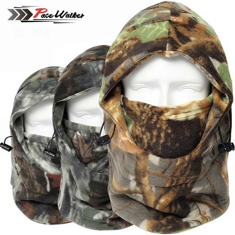 Boné inverno rosto e pescoço aquecedores velo camuflagem boné balaclava trekking equitação esqui caça chapéu térmico à prova de vento máscara