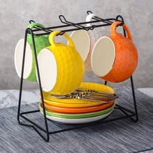 Ceramic Coffee Cup Saucer Set European-style afternoon tea Creative cute color coffee mug cup set home decor