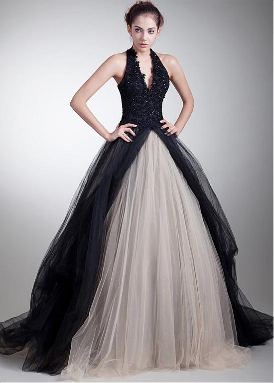 IMH199 E Marry Ball Gown Evening Dress 2017 Latest Design White Tulle With Black Halter Long