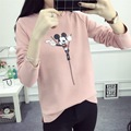 2016 New Fashion Women Autumn & Winter Hoodies Cute Cartoon Minnie Pattern Casual Sweatshirt Ladies Long Sleeve slit Sweats Tops