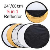 """24 """"60 cm 5in1 diffuseur de lumière Portable pliable rond Photo Studio réflecteur disque Multi couleur Studio photographie réflecteur"""