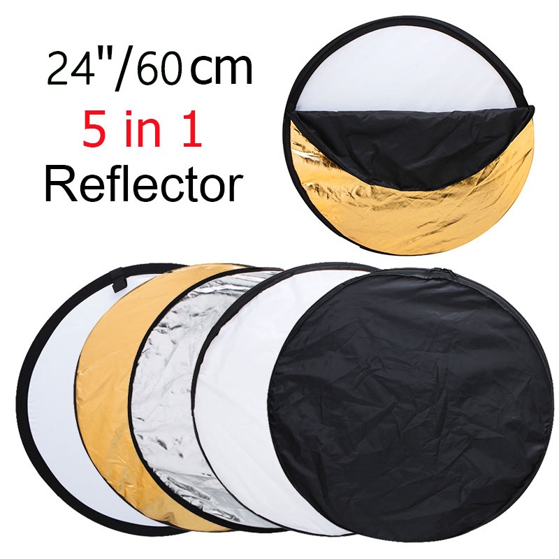 24″ 60cm 5in1 Collapsible Portable Light Diffuser Round Photo Studio Reflector DISC Multi Color Studio Photography Reflector