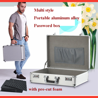 Aluminum suitcase Hardware Toolbox Multi function Home maintenance Installation box Instrument box with Shoulder strap case