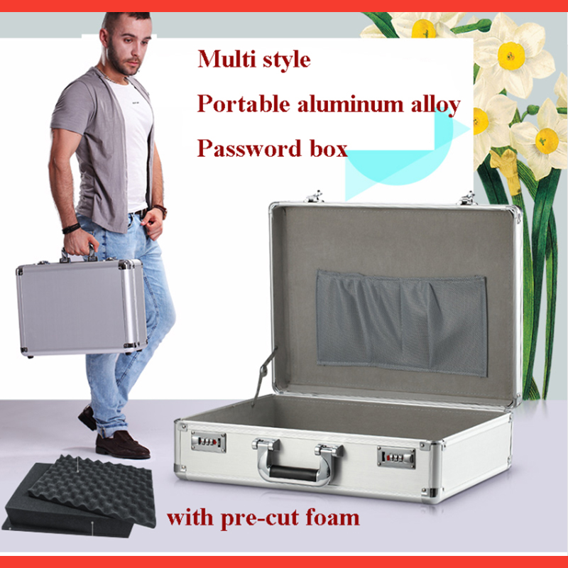 Aluminum Suitcase Hardware Toolbox Multi-function Home Maintenance Installation Box Instrument Box With Shoulder Strap Case