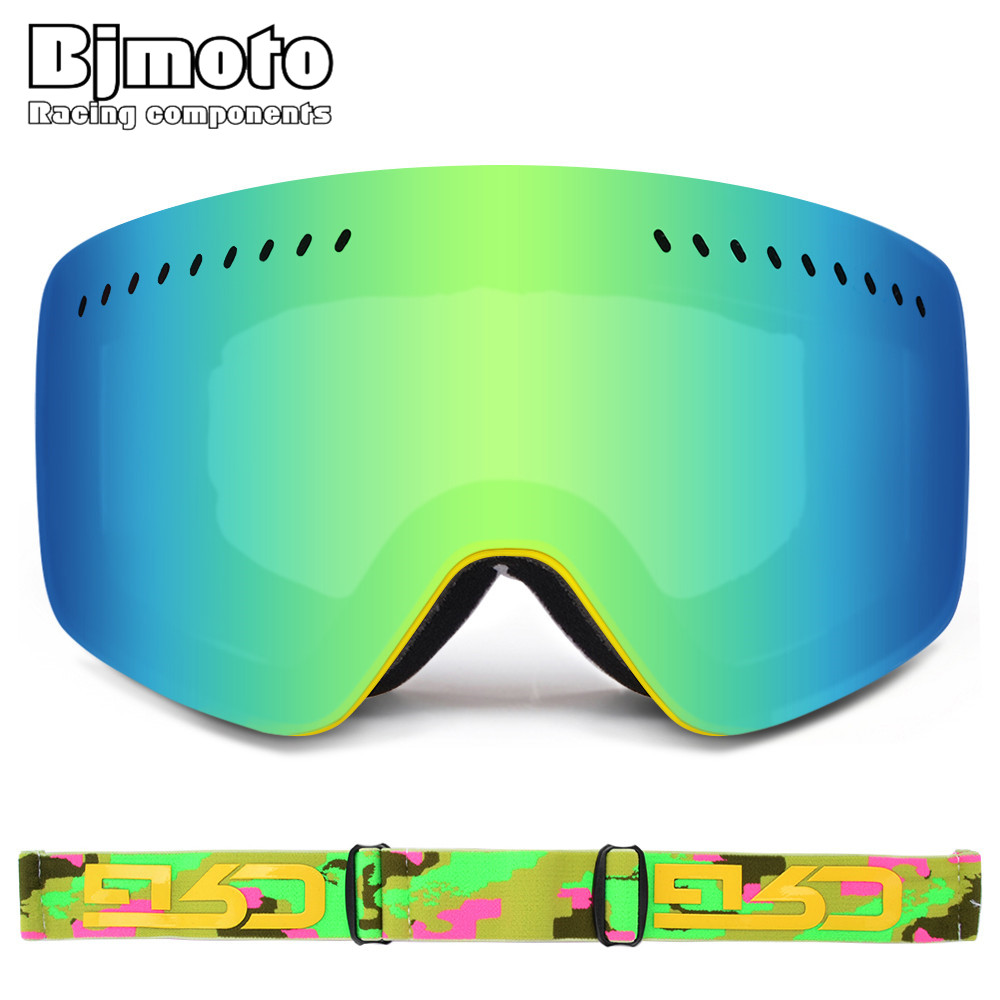 BJMOTO Amazing Big Ski Fack Mask Double Lens UV400 Anti fog Motocross Goggles Snow Skiing Snowboard Motorcycle Goggles Glasses