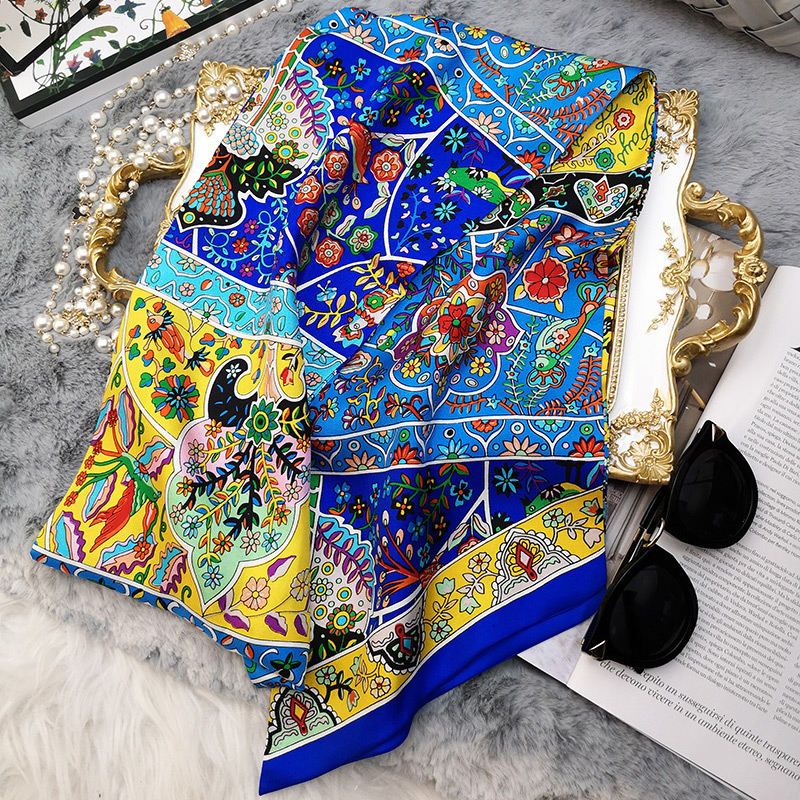 Charming Floral Print Long 100% Silk Scarf Neckerchief Headband Hair Head Accessories for Women Ladies