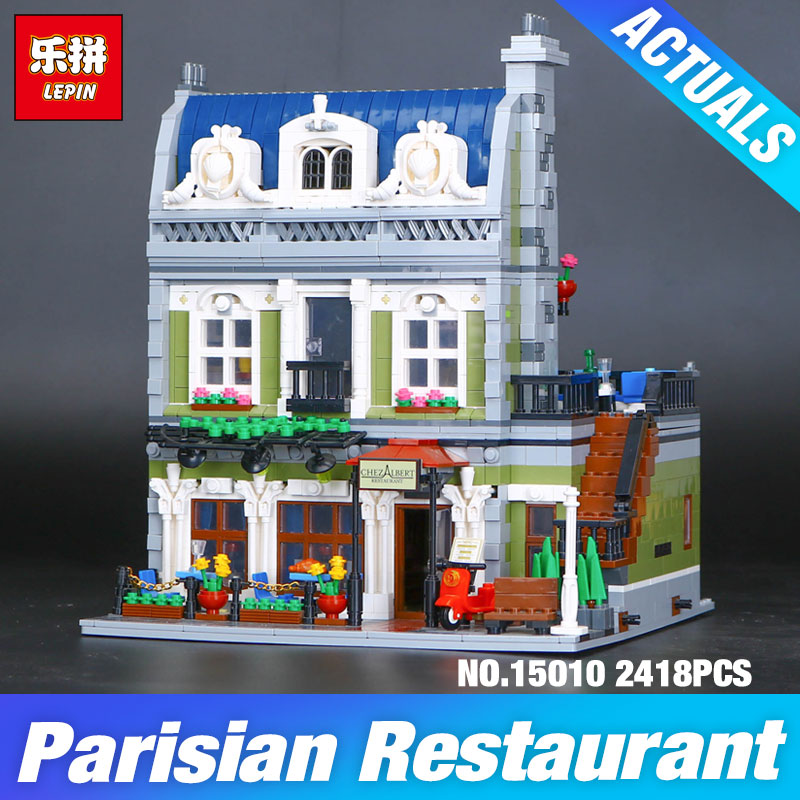 Lepin 15010 Expert City Street Parisian Restaurant Model Building Kits Blocks DIY Child's Toy Compatible Educational Gift 10243