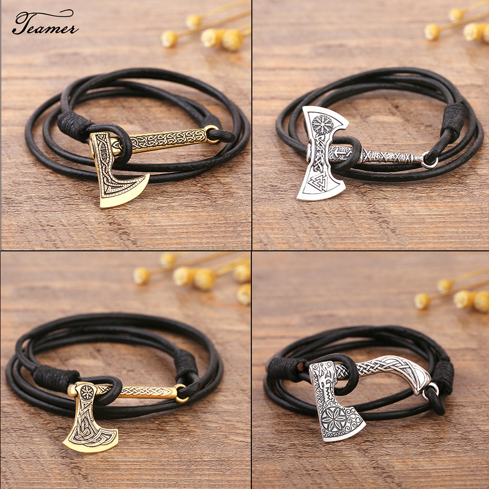 Teamer Men's Jewelry Axe Wrap Viking Bracelet Men's Leather Accessories Antique Silver Hatchet Handmade Pirate Bracelet For Male Fashion Accessories