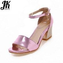 2017 New Women Sandals Big Size 32-48 Super Ankle Strap Summer Shoes Woman Hoof Heels Sandals Summer Dress Shoes Fashion