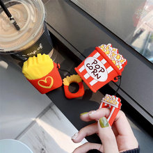 3D French fries popcorn box soft Silicone earphone case For airpods kawaii cute rubber ring hook cover for apple keyring