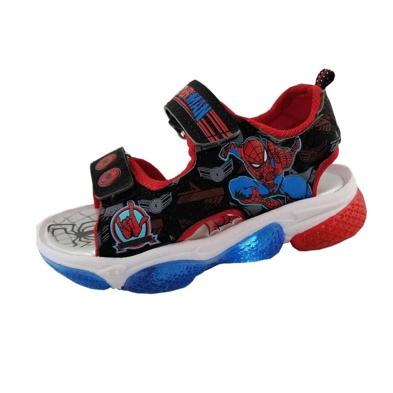 Boys Spider-man Cartoon Sandals With Led Light Summer Children Sport Soft  Beach Shoes