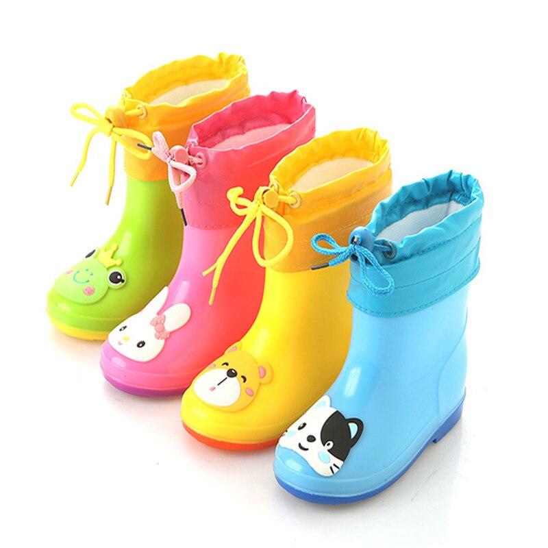 Nuevo impermeable niños Botas jalea suave zapato infantil chica plana Botas bebé lluvia Botas con patrón catoon Niñas niños lluvia zapatos