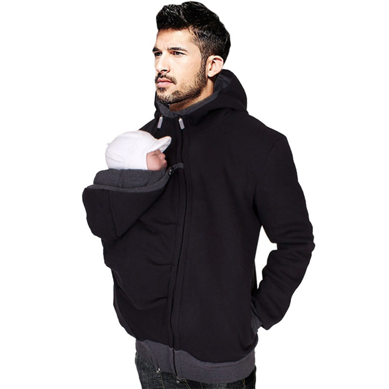 Dad winter carry baby carrier jackets with zipper infant sweatshirt winter warm kangaroo cotton dad coat hoodies wearing clothes kangaroo pocket drop shoulder color block sweatshirt