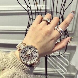 Image 5 - Yeni moda mor lüks paslanmaz çelik İzle Lady Shining rotasyon elbise İzle büyük elmas taş kol saatleri saatler