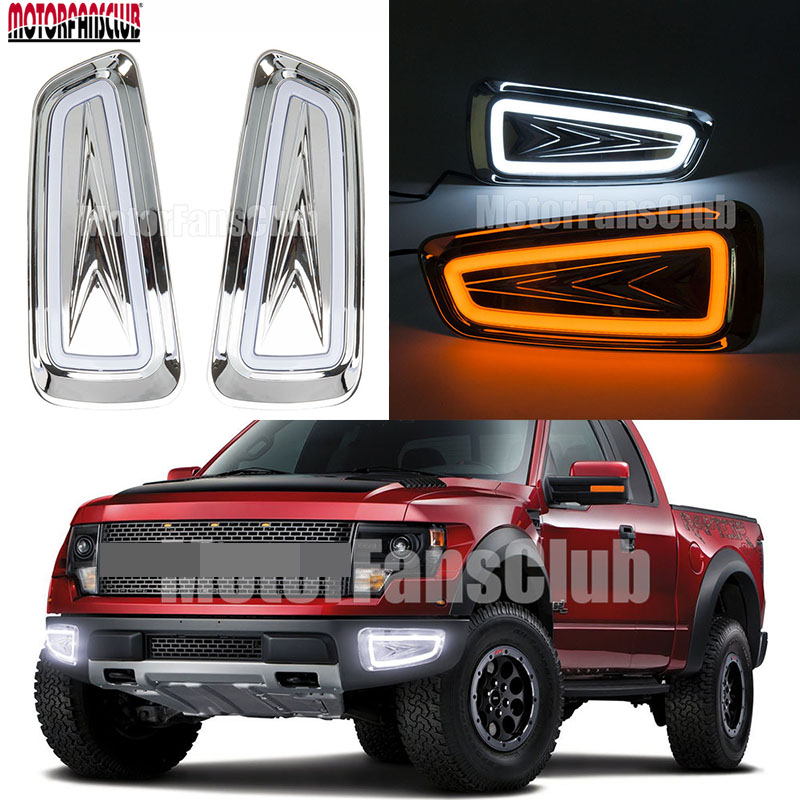 2x LED Daytime Running Fog Lights Lamp DRL For Ford F150 Raptor SVT 2009 2010 2011 2012 2013 2014 2015
